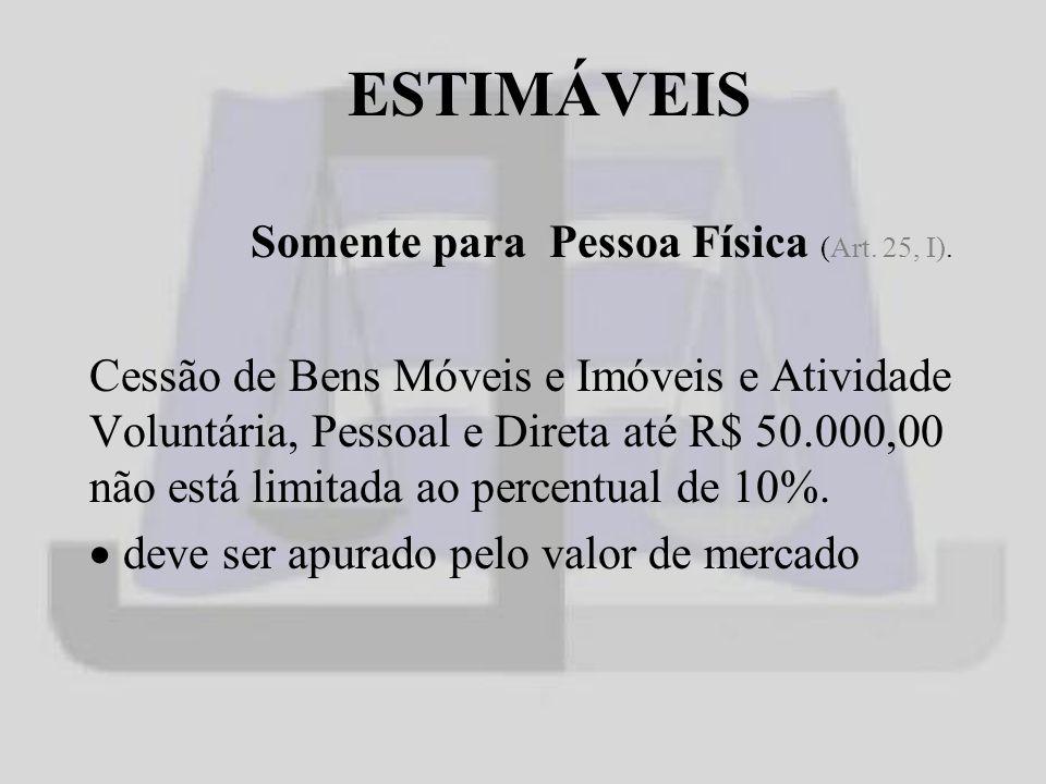 ESTIMÁVEIS Somente para Pessoa Física (Art.25, I).