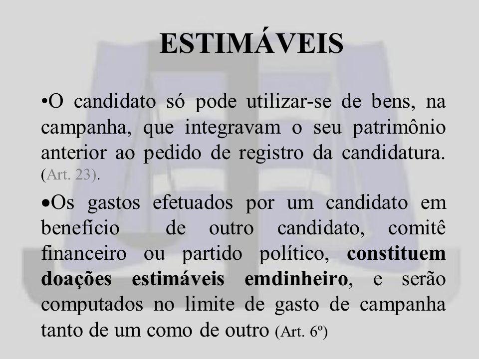 ESTIMÁVEIS O candidato só pode utilizar-se de bens, na campanha, que integravam o seu patrimônio anterior ao pedido de registro da candidatura.