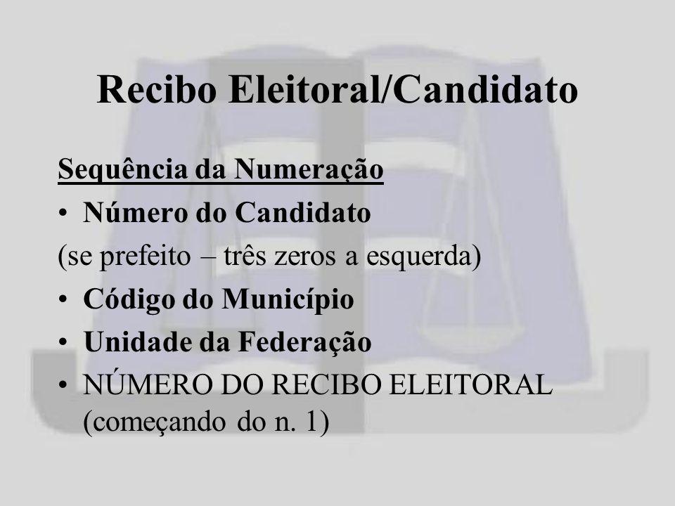 Recibo Eleitoral/Candidato Sequência da Numeração Número do Candidato (se prefeito – três zeros a esquerda) Código do Município Unidade da Federação NÚMERO DO RECIBO ELEITORAL (começando do n.