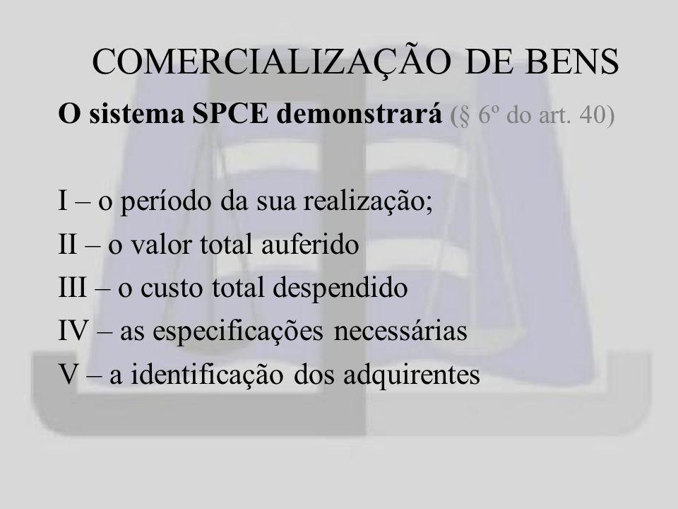 COMERCIALIZAÇÃO DE BENS O sistema SPCE demonstrará (§ 6º do art.
