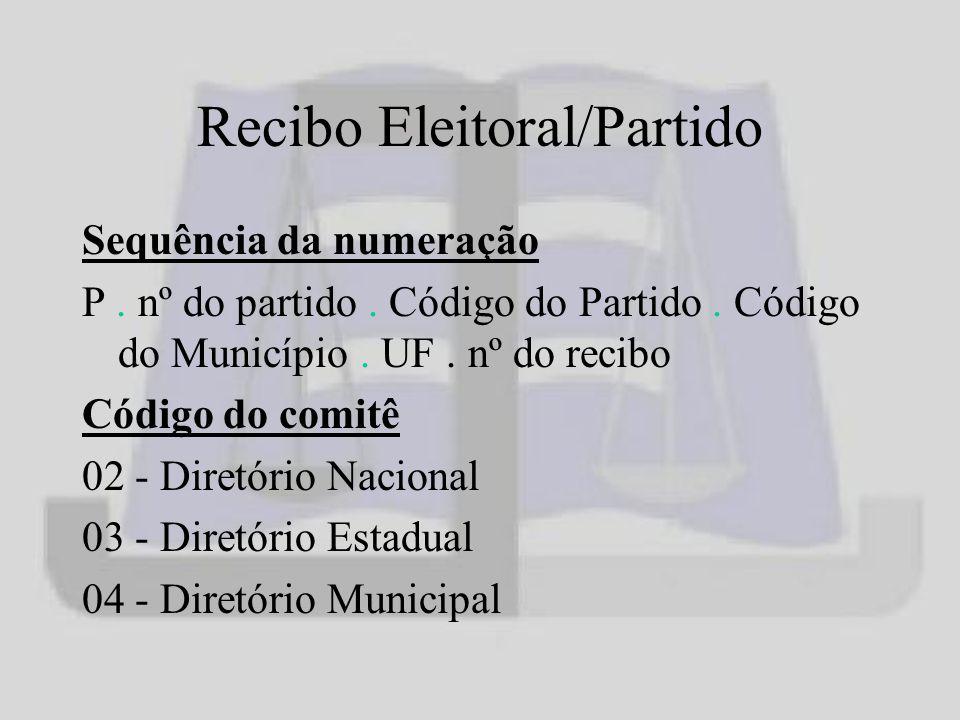 Recibo Eleitoral/Partido Sequência da numeração P.