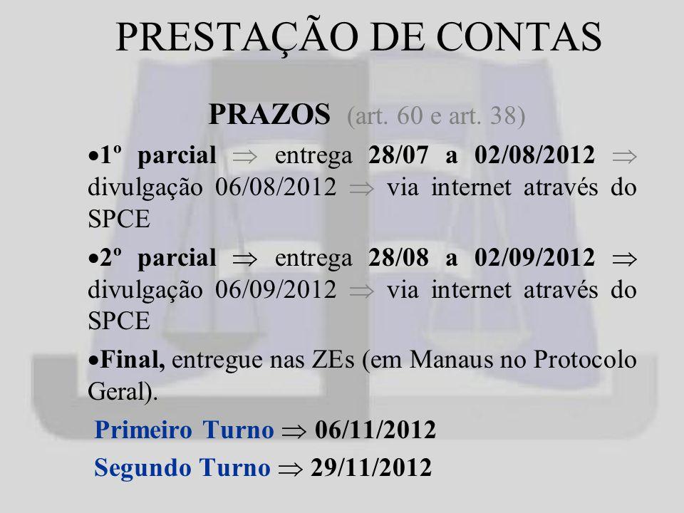 PRESTAÇÃO DE CONTAS PRAZOS (art.60 e art.