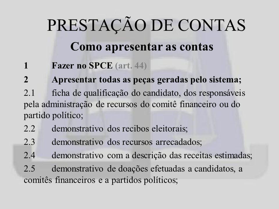 PRESTAÇÃO DE CONTAS Como apresentar as contas 1Fazer no SPCE (art.