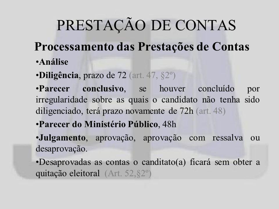 PRESTAÇÃO DE CONTAS Processamento das Prestações de Contas Análise Diligência, prazo de 72 (art.