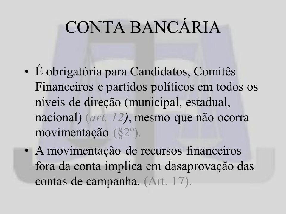 CONTA BANCÁRIA É obrigatória para Candidatos, Comitês Financeiros e partidos políticos em todos os níveis de direção (municipal, estadual, nacional) (art.