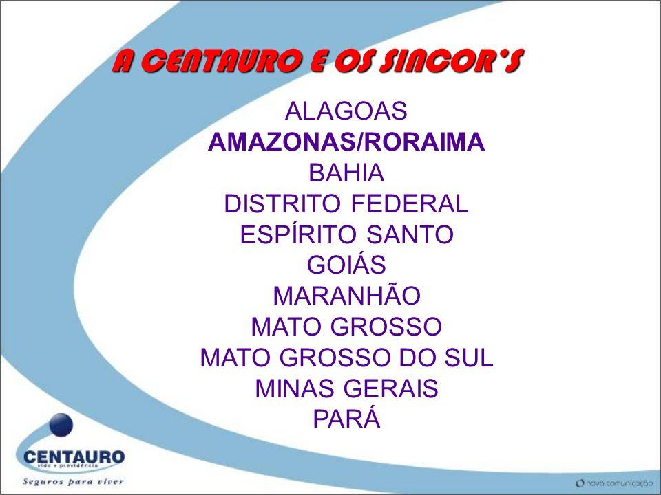 A CENTAURO E OS SINCORS ALAGOAS AMAZONAS/RORAIMA BAHIA DISTRITO FEDERAL ESPÍRITO SANTO GOIÁS MARANHÃO MATO GROSSO MATO GROSSO DO SUL MINAS GERAIS PARÁ