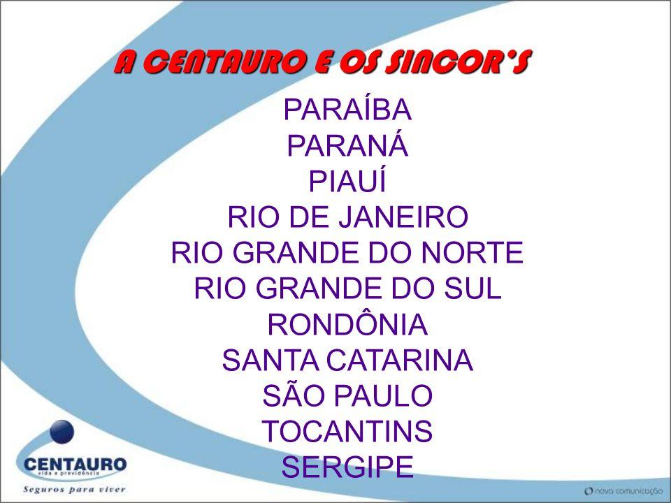 A CENTAURO E OS SINCORS PARAÍBA PARANÁ PIAUÍ RIO DE JANEIRO RIO GRANDE DO NORTE RIO GRANDE DO SUL RONDÔNIA SANTA CATARINA SÃO PAULO TOCANTINS SERGIPE