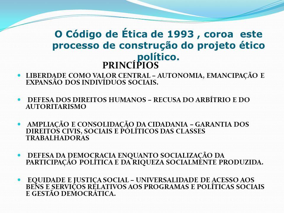 O Código de Ética de 1993, coroa este processo de construção do projeto ético político. PRINCÍPIOS LIBERDADE COMO VALOR CENTRAL – AUTONOMIA, EMANCIPAÇ