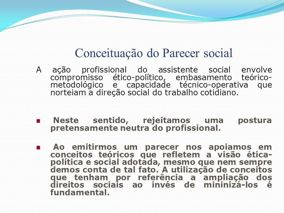 Conceituação do Parecer social A ação profissional do assistente social envolve compromisso ético-político, embasamento teórico- metodológico e capaci