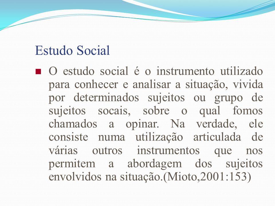 Estudo Social O estudo social é o instrumento utilizado para conhecer e analisar a situação, vivida por determinados sujeitos ou grupo de sujeitos soc