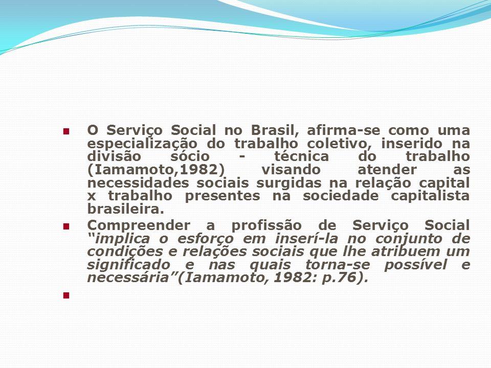 O Serviço Social no Brasil, afirma-se como uma especialização do trabalho coletivo, inserido na divisão sócio - técnica do trabalho (Iamamoto,1982) vi
