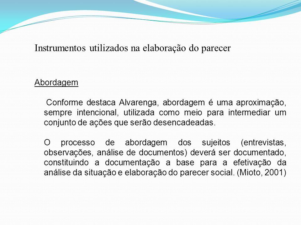 Instrumentos utilizados na elaboração do parecer Abordagem Conforme destaca Alvarenga, abordagem é uma aproximação, sempre intencional, utilizada como