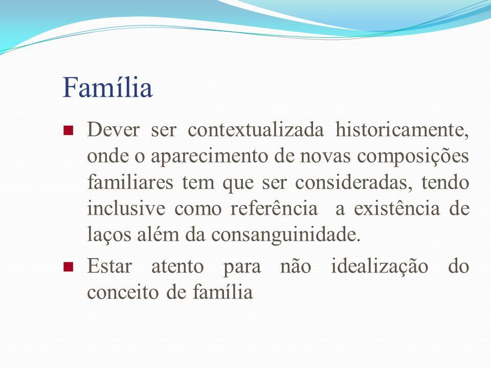 Família Dever ser contextualizada historicamente, onde o aparecimento de novas composições familiares tem que ser consideradas, tendo inclusive como r
