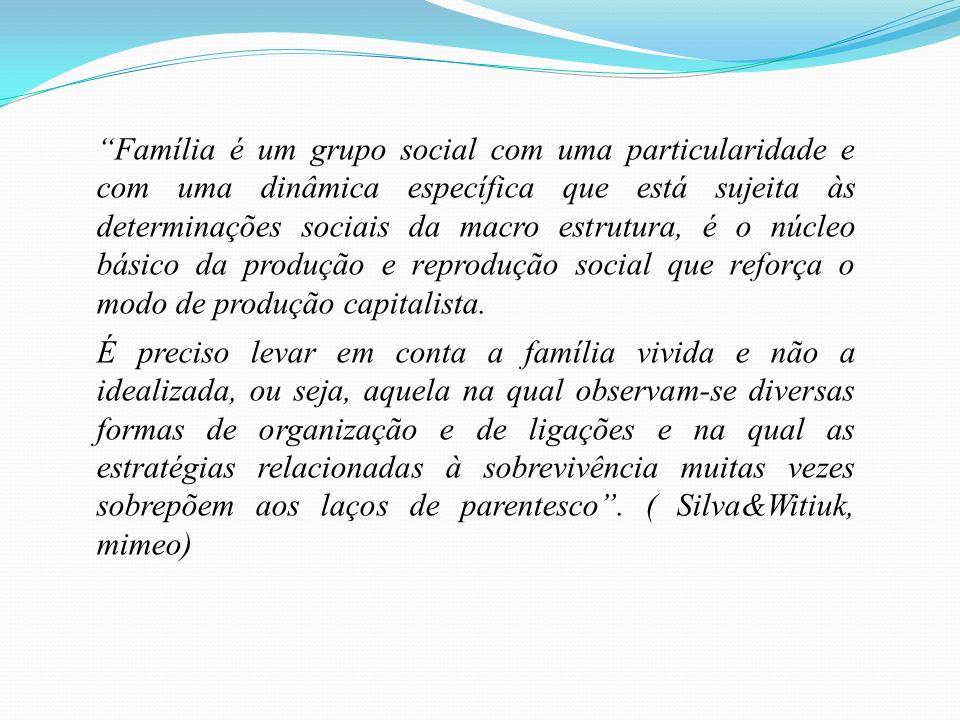 Família é um grupo social com uma particularidade e com uma dinâmica específica que está sujeita às determinações sociais da macro estrutura, é o núcl