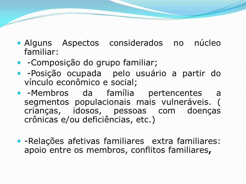 Alguns Aspectos considerados no núcleo familiar: -Composição do grupo familiar; -Posição ocupada pelo usuário a partir do vínculo econômico e social;