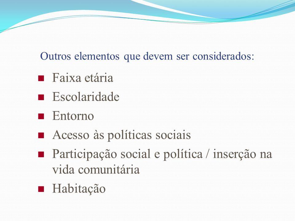 Outros elementos que devem ser considerados: Faixa etária Escolaridade Entorno Acesso às políticas sociais Participação social e política / inserção n