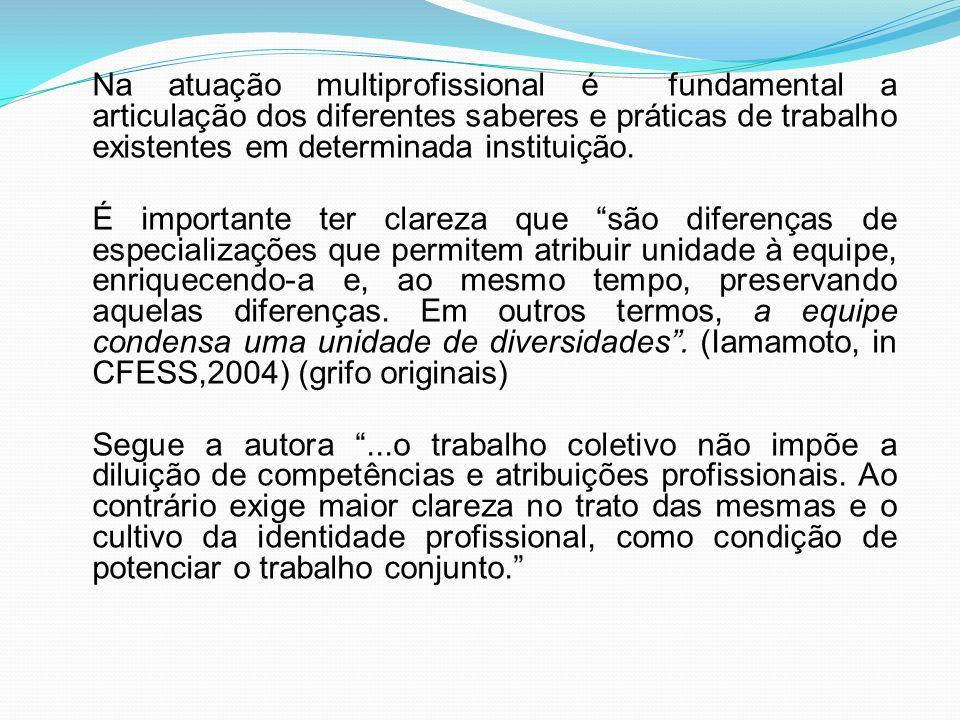 Na atuação multiprofissional é fundamental a articulação dos diferentes saberes e práticas de trabalho existentes em determinada instituição. É import