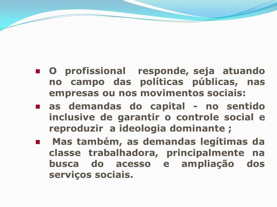 O profissional responde, seja atuando no campo das políticas públicas, nas empresas ou nos movimentos sociais: as demandas do capital - no sentido inc
