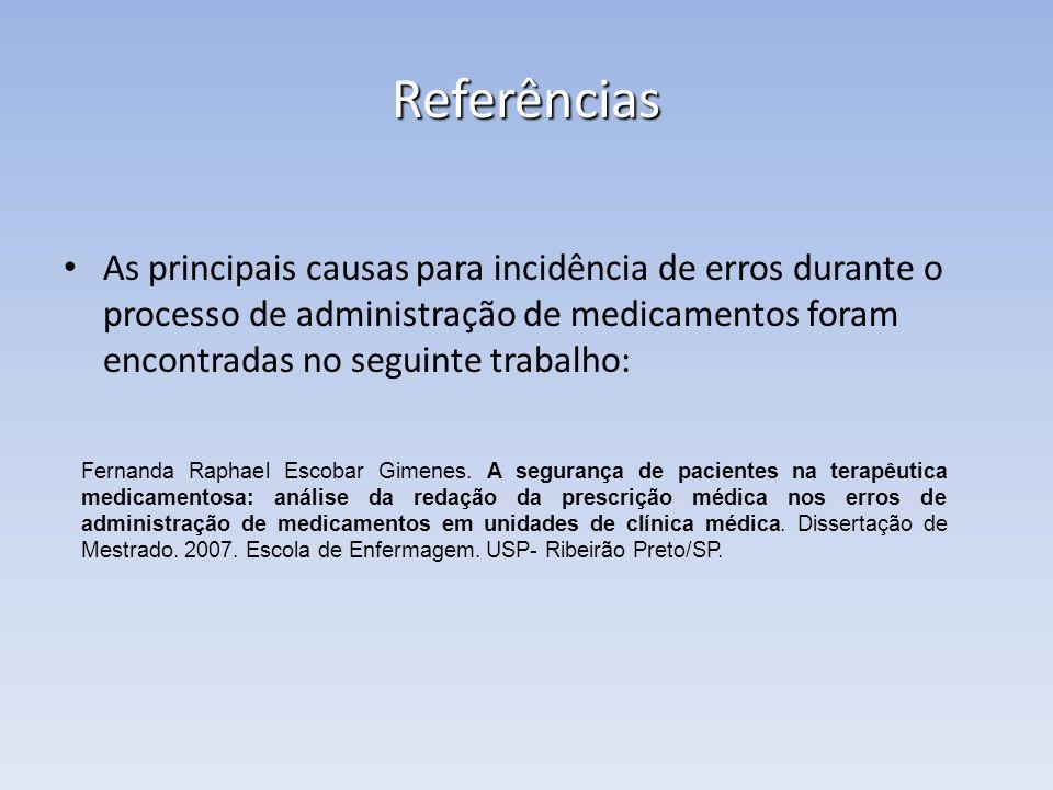 Referências As principais causas para incidência de erros durante o processo de administração de medicamentos foram encontradas no seguinte trabalho: Fernanda Raphael Escobar Gimenes.