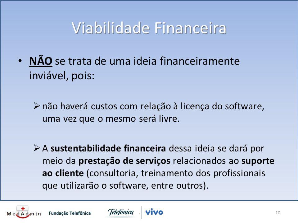 Viabilidade Financeira NÃO se trata de uma ideia financeiramente inviável, pois: não haverá custos com relação à licença do software, uma vez que o mesmo será livre.