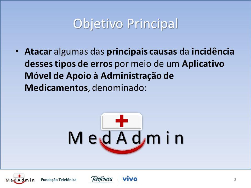 Objetivo Principal Atacar algumas das principais causas da incidência desses tipos de erros por meio de um Aplicativo Móvel de Apoio à Administração de Medicamentos, denominado: M e d A d m i n 3