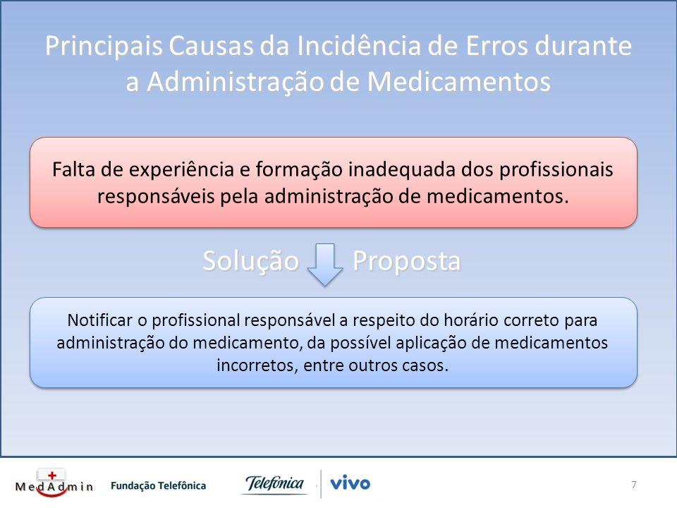 Principais Causas da Incidência de Erros durante a Administração de Medicamentos 7 Falta de experiência e formação inadequada dos profissionais responsáveis pela administração de medicamentos.