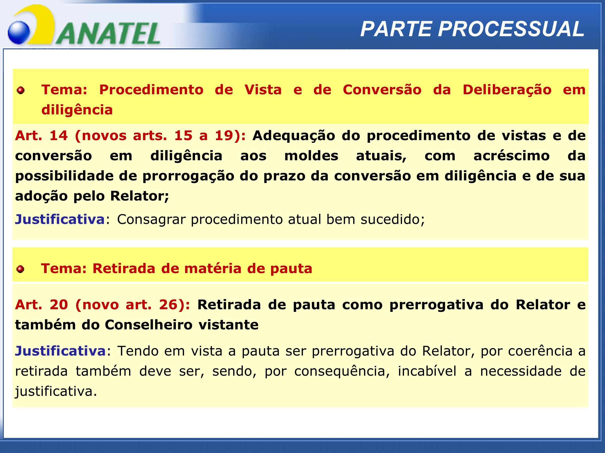 ADTOD PARTE PROCESSUAL Art. 14 (novos arts. 15 a 19): Adequação do procedimento de vistas e de conversão em diligência aos moldes atuais, com acréscim
