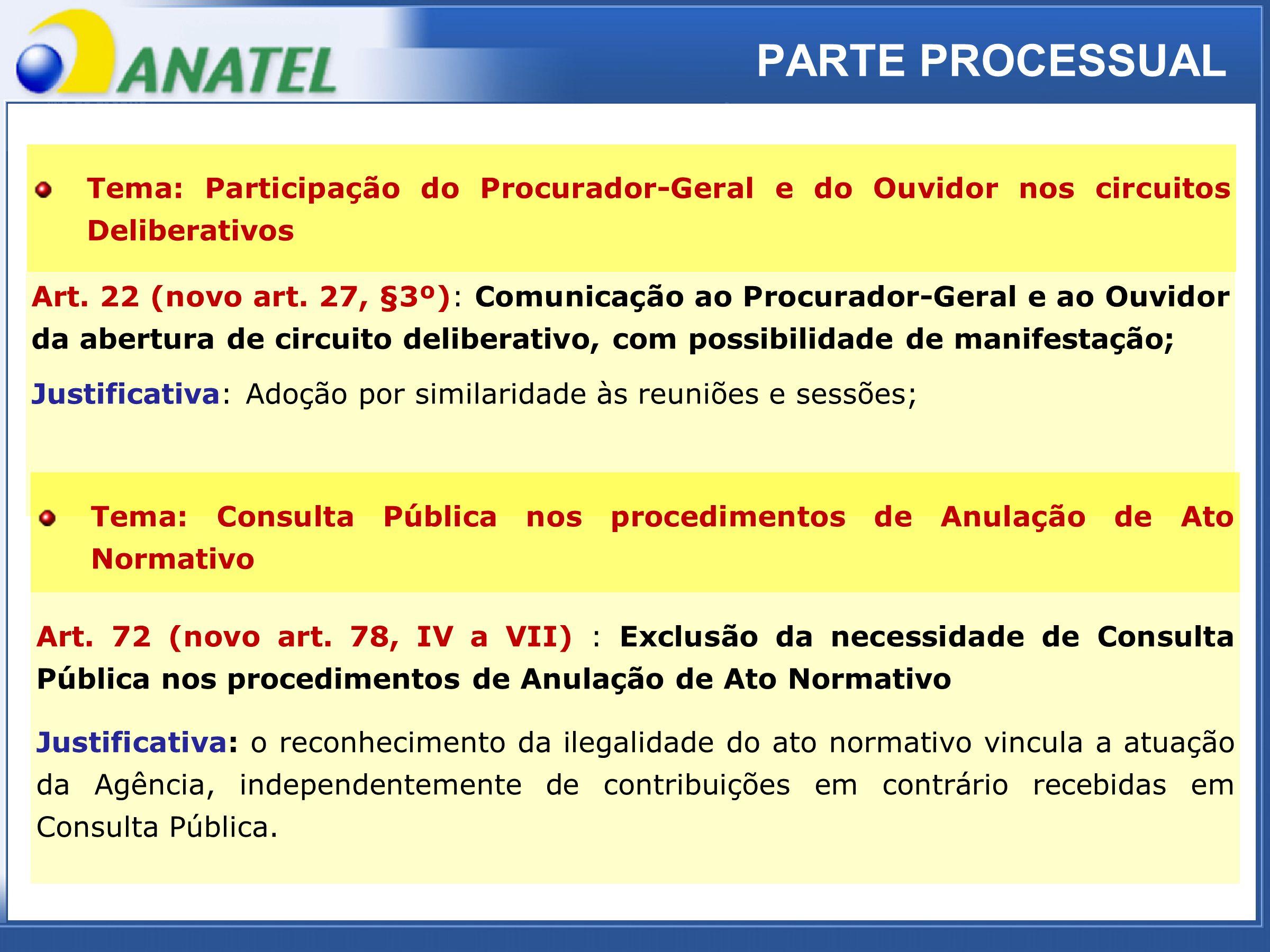 ADTOD PARTE PROCESSUAL Art. 22 (novo art. 27, §3º): Comunicação ao Procurador-Geral e ao Ouvidor da abertura de circuito deliberativo, com possibilida