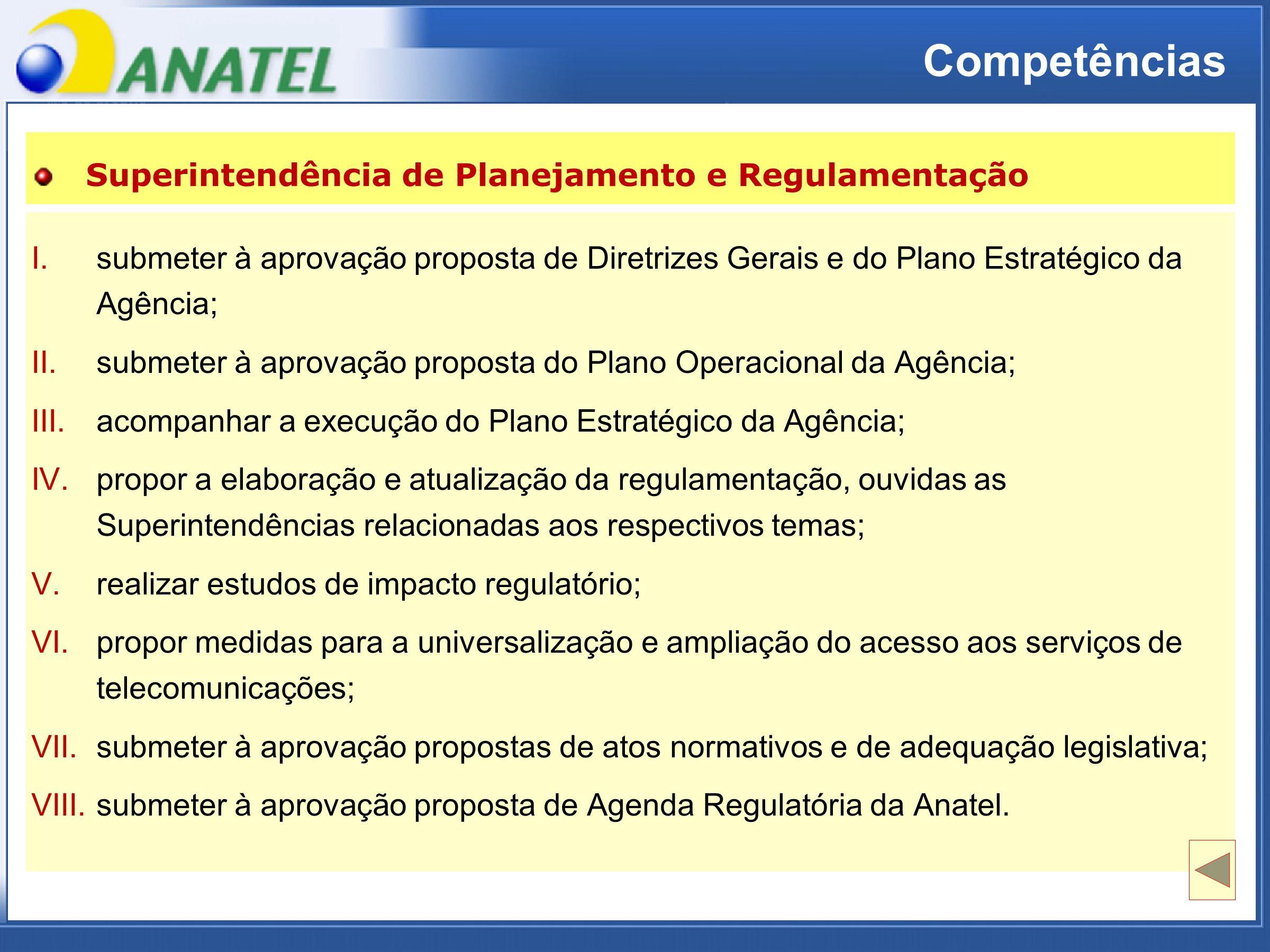 ADTOD Competências I.submeter à aprovação proposta de Diretrizes Gerais e do Plano Estratégico daAgência; I.submeter à aprovação proposta de Diretrizes Gerais e do Plano Estratégico da Agência; II.submeter à aprovação proposta do Plano Operacional da Agência; III.acompanhar a execução do Plano Estratégico da Agência; IV.propor a elaboração e atualização da regulamentação, ouvidas asSuperintendências relacionadas aos respectivos temas; IV.propor a elaboração e atualização da regulamentação, ouvidas as Superintendências relacionadas aos respectivos temas; V.realizar estudos de impacto regulatório; VI.propor medidas para a universalização e ampliação do acesso aos serviços detelecomunicações; VI.propor medidas para a universalização e ampliação do acesso aos serviços de telecomunicações; VII.submeter à aprovação propostas de atos normativos e de adequação legislativa; VIII.submeter à aprovação proposta de Agenda Regulatória da Anatel.
