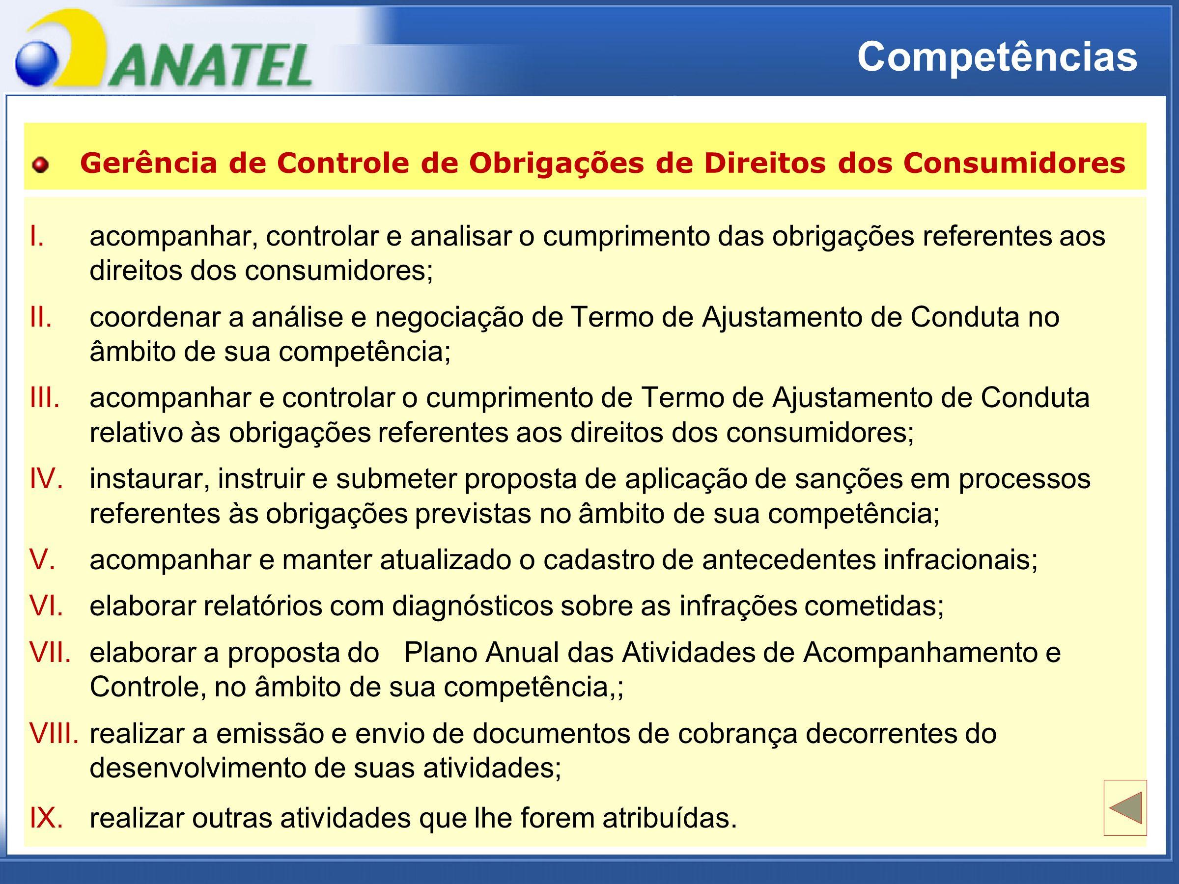ADTOD I.acompanhar, controlar e analisar o cumprimento das obrigações referentes aosdireitos dos consumidores; I.acompanhar, controlar e analisar o cumprimento das obrigações referentes aos direitos dos consumidores; II.coordenar a análise e negociação de Termo de Ajustamento de Conduta noâmbito de sua competência; II.coordenar a análise e negociação de Termo de Ajustamento de Conduta no âmbito de sua competência; III.acompanhar e controlar o cumprimento de Termo de Ajustamento de Condutarelativo às obrigações referentes aos direitos dos consumidores; III.acompanhar e controlar o cumprimento de Termo de Ajustamento de Conduta relativo às obrigações referentes aos direitos dos consumidores; IV.instaurar, instruir e submeter proposta de aplicação de sanções em processosreferentes às obrigações previstas no âmbito de sua competência; IV.instaurar, instruir e submeter proposta de aplicação de sanções em processos referentes às obrigações previstas no âmbito de sua competência; V.acompanhar e manter atualizado o cadastro de antecedentes infracionais; VI.elaborar relatórios com diagnósticos sobre as infrações cometidas; VII.elaborar a proposta do Plano Anual das Atividades de Acompanhamento eControle, no âmbito de sua competência,; VII.elaborar a proposta do Plano Anual das Atividades de Acompanhamento e Controle, no âmbito de sua competência,; VIII.realizar a emissão e envio de documentos de cobrança decorrentes dodesenvolvimento de suas atividades; VIII.realizar a emissão e envio de documentos de cobrança decorrentes do desenvolvimento de suas atividades; IX.realizar outras atividades que lhe forem atribuídas.