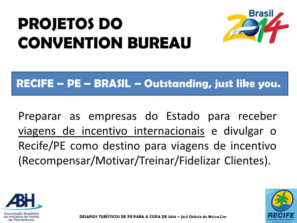 RECIFE – PE – BRASIL – Outstanding, just like you. PROJETOS DO CONVENTION BUREAU Preparar as empresas do Estado para receber viagens de incentivo inte