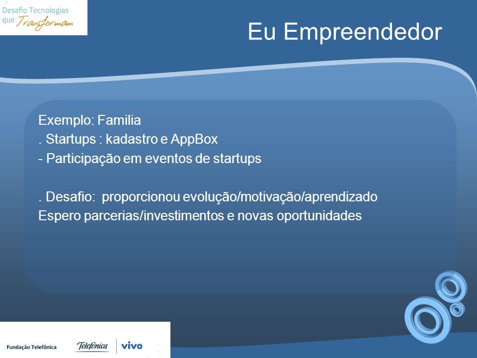 Eu Empreendedor Exemplo: Familia. Startups : kadastro e AppBox - Participação em eventos de startups. Desafio: proporcionou evolução/motivação/aprendi