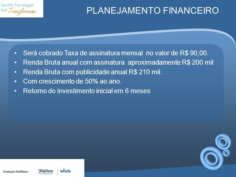 PLANEJAMENTO FINANCEIRO Será cobrado Taxa de assinatura mensal no valor de R$ 90,00. Renda Bruta anual com assinatura aproximadamente R$ 200 mil Renda