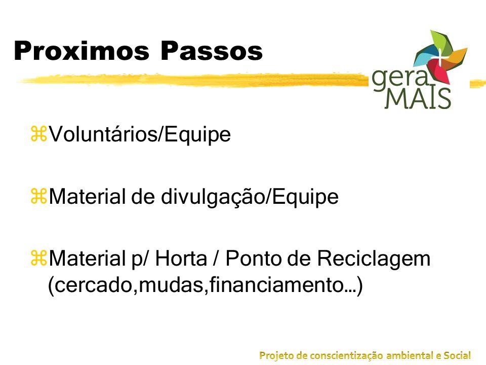Proximos Passos zVoluntários/Equipe zMaterial de divulgação/Equipe zMaterial p/ Horta / Ponto de Reciclagem (cercado,mudas,financiamento…)