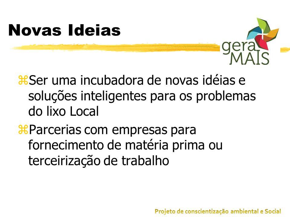 Novas Ideias zSer uma incubadora de novas idéias e soluções inteligentes para os problemas do lixo Local zParcerias com empresas para fornecimento de