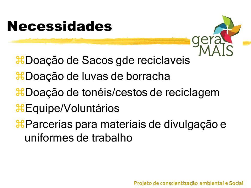 Necessidades zDoação de Sacos gde reciclaveis de lixos zDoação de luvas de borracha zDoação de tonéis/cestos de reciclagem zEquipe/Voluntários zParcer