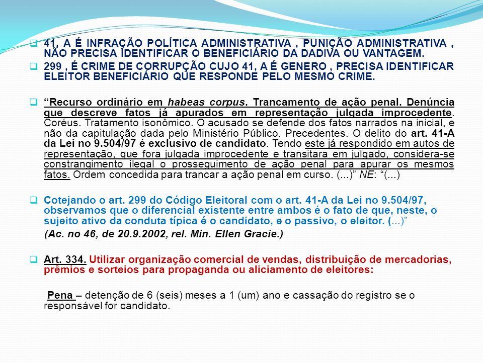 41, A É INFRAÇÃO POLÍTICA ADMINISTRATIVA, PUNIÇÃO ADMINISTRATIVA, NÃO PRECISA IDENTIFICAR O BENEFICIÁRIO DA DADIVA OU VANTAGEM. 299, É CRIME DE CORRUP