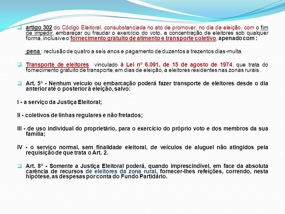 artigo 302 do Código Eleitoral, consubstanciada no ato de promover, no dia da eleição, com o fim de impedir, embaraçar ou fraudar o exercício do voto,