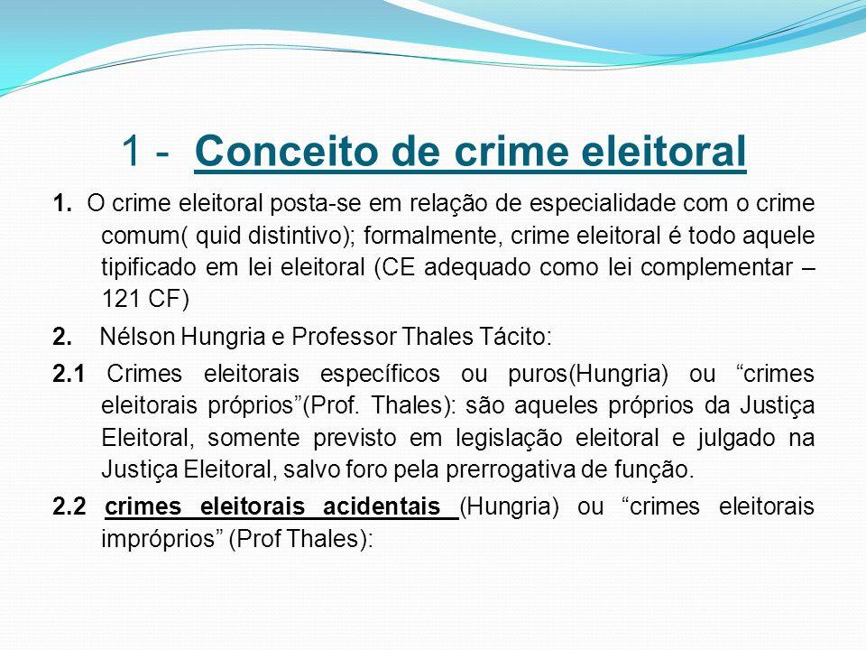 1 - Conceito de crime eleitoral 1. O crime eleitoral posta-se em relação de especialidade com o crime comum( quid distintivo); formalmente, crime elei