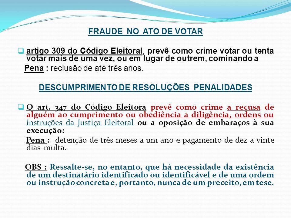 FRAUDE NO ATO DE VOTAR artigo 309 do Código Eleitoral, prevê como crime votar ou tenta votar mais de uma vez, ou em lugar de outrem, cominando a Pena