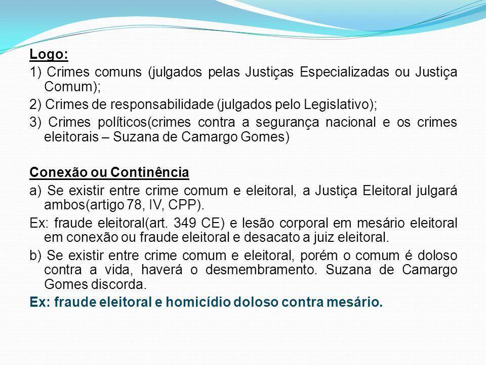 Logo: 1) Crimes comuns (julgados pelas Justiças Especializadas ou Justiça Comum); 2) Crimes de responsabilidade (julgados pelo Legislativo); 3) Crimes