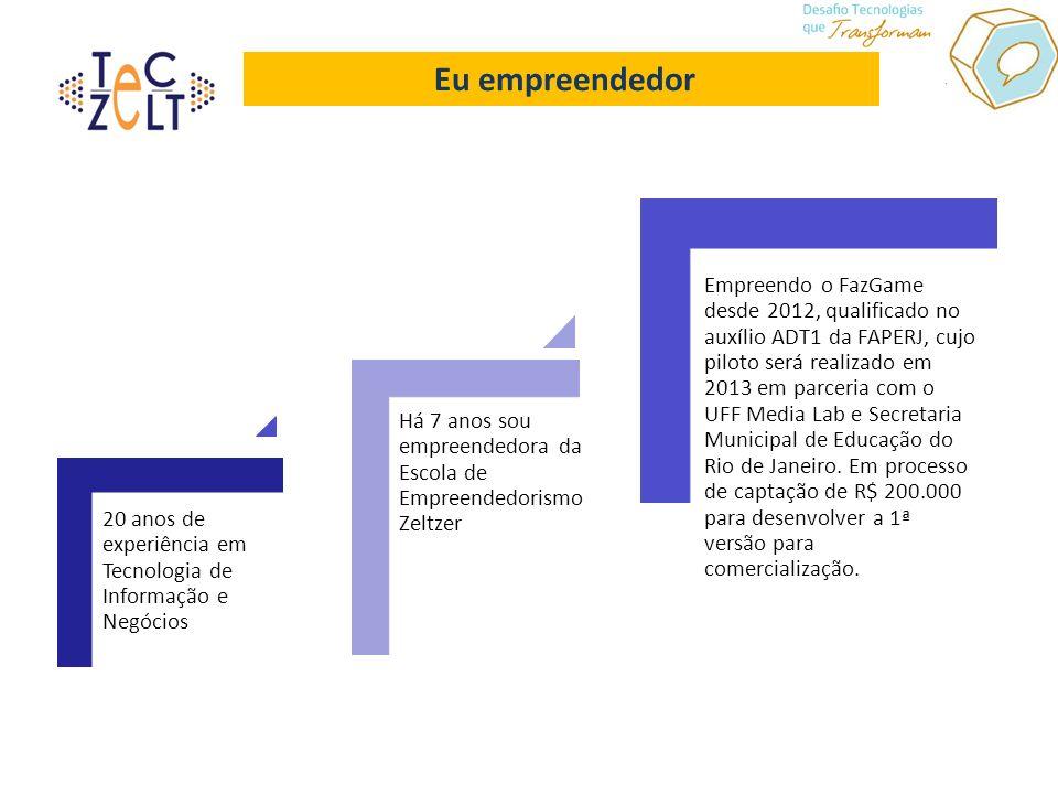 Eu empreendedor 20 anos de experiência em Tecnologia de Informação e Negócios Há 7 anos sou empreendedora da Escola de Empreendedorismo Zeltzer Empreendo o FazGame desde 2012, qualificado no auxílio ADT1 da FAPERJ, cujo piloto será realizado em 2013 em parceria com o UFF Media Lab e Secretaria Municipal de Educação do Rio de Janeiro.