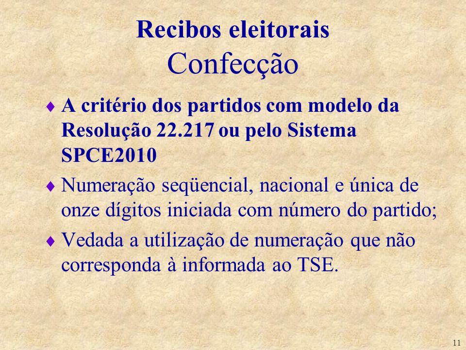 11 Recibos eleitorais Confecção A critério dos partidos com modelo da Resolução 22.217 ou pelo Sistema SPCE2010 Numeração seqüencial, nacional e única