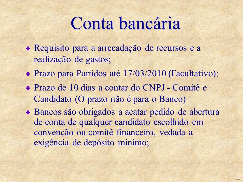 15 Requisito para a arrecadação de recursos e a realização de gastos; Prazo para Partidos até 17/03/2010 (Facultativo); Prazo de 10 dias a contar do C