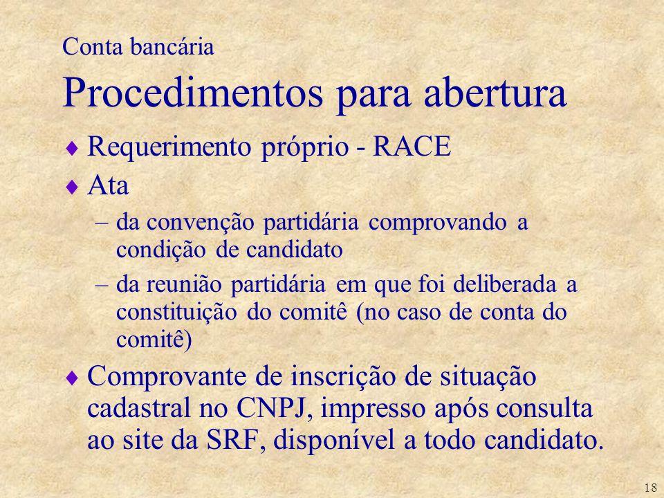 18 Conta bancária Procedimentos para abertura Requerimento próprio - RACE Ata –da convenção partidária comprovando a condição de candidato –da reunião