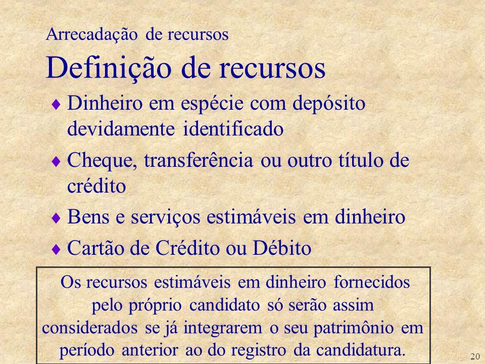 20 Arrecadação de recursos Definição de recursos Dinheiro em espécie com depósito devidamente identificado Cheque, transferência ou outro título de cr