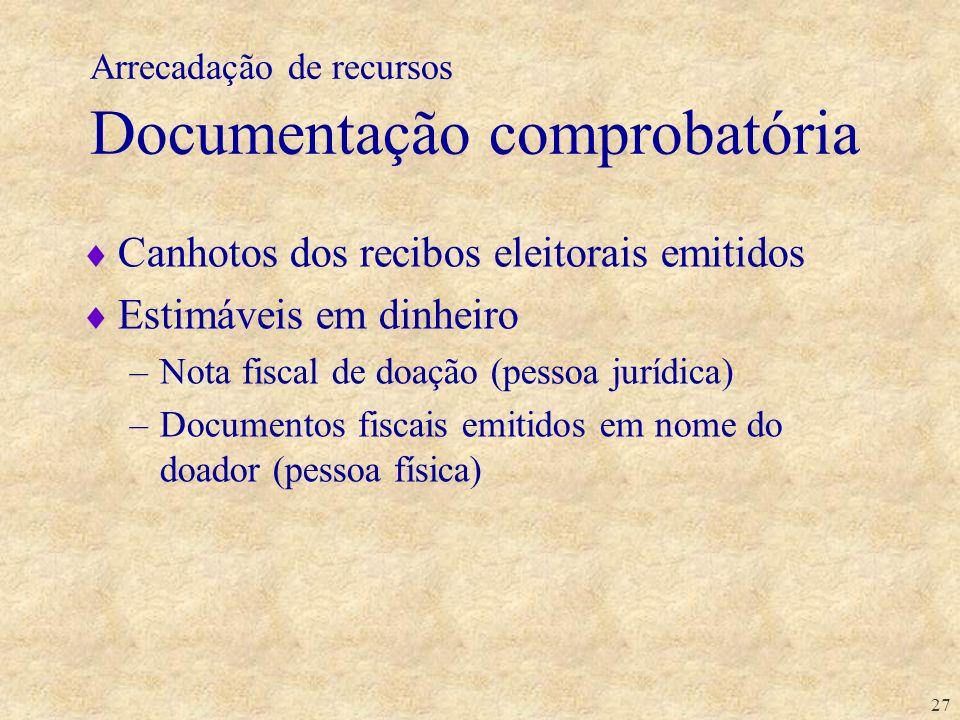 27 Arrecadação de recursos Documentação comprobatória Canhotos dos recibos eleitorais emitidos Estimáveis em dinheiro –Nota fiscal de doação (pessoa j