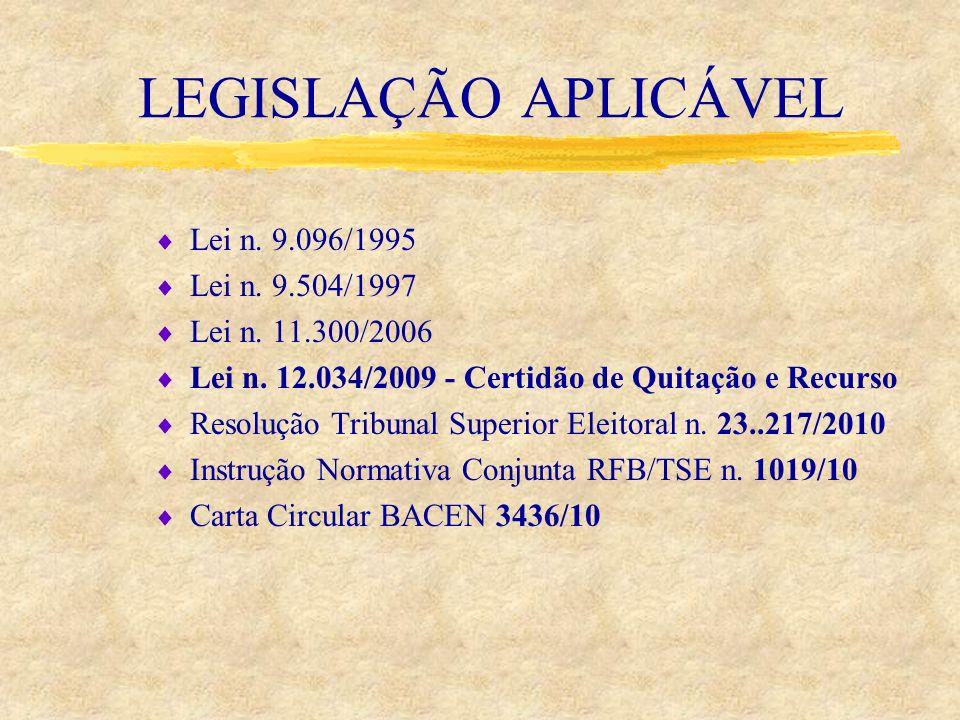 LEGISLAÇÃO APLICÁVEL Lei n. 9.096/1995 Lei n. 9.504/1997 Lei n. 11.300/2006 Lei n. 12.034/2009 - Certidão de Quitação e Recurso Resolução Tribunal Sup