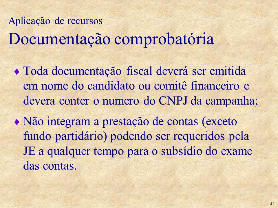 41 Toda documentação fiscal deverá ser emitida em nome do candidato ou comitê financeiro e devera conter o numero do CNPJ da campanha; Não integram a