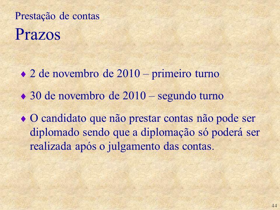 44 2 de novembro de 2010 – primeiro turno 30 de novembro de 2010 – segundo turno O candidato que não prestar contas não pode ser diplomado sendo que a